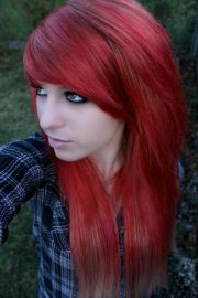 long red emo hairstyle girls