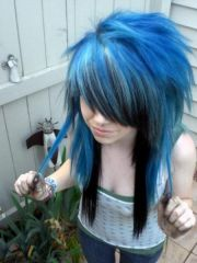 sexy blue black emo hairstyle