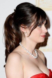 zooey deschanel pin messy ponytail