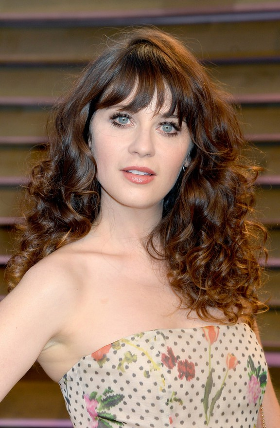 Zooey Deschanel Sexy Long Curly Hairstyle With Wispy Bangs