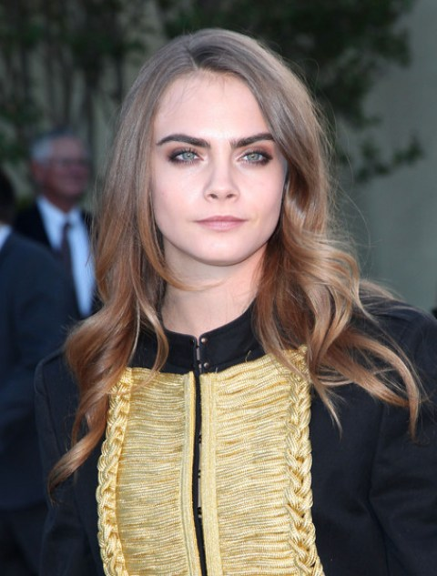 Cara Delevingne Side-parted Long Wavy Hairstyle