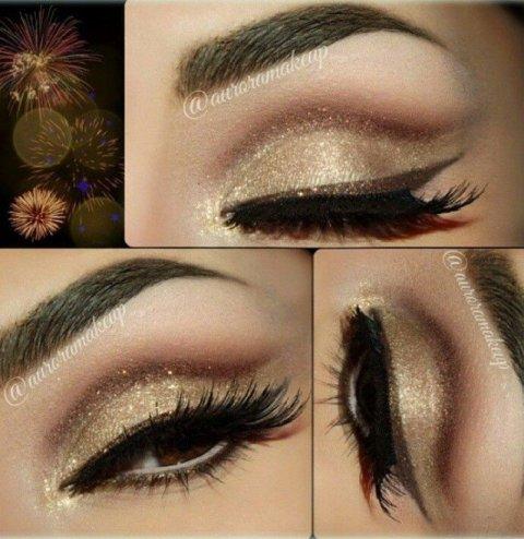 Golden Shimmer Eye Makeup for New Year