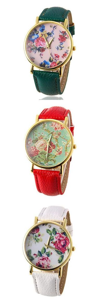 Floral print watch