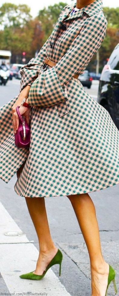 Gingham pattern coat