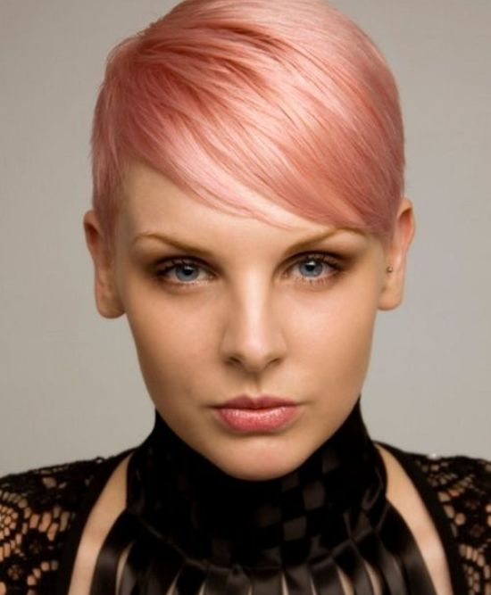 rose gold straight pixie cut