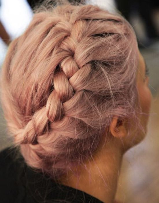 rose gold braided updo