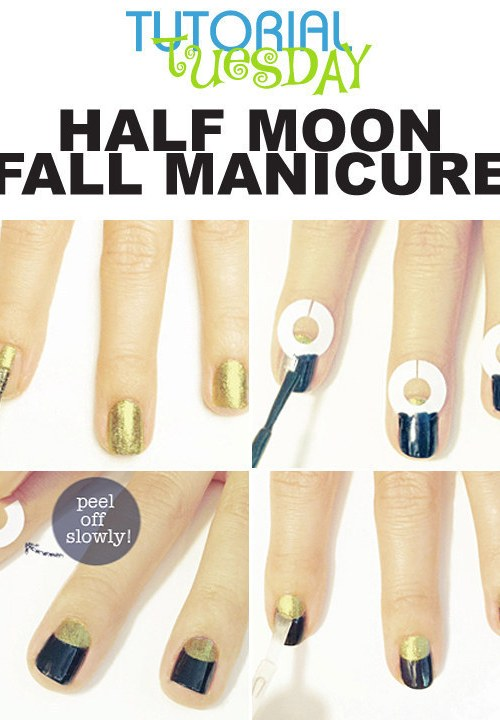 half moon fall manicure