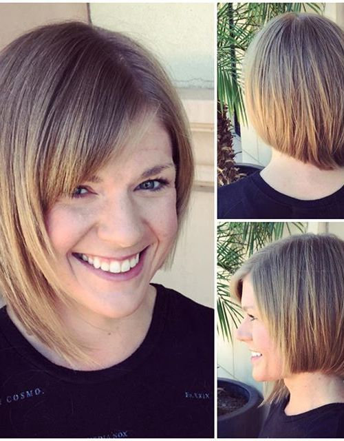Cute asymmetrical bob hairstyle with bangs