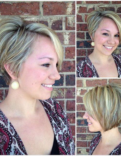 layered short asymmetrical bob haircut