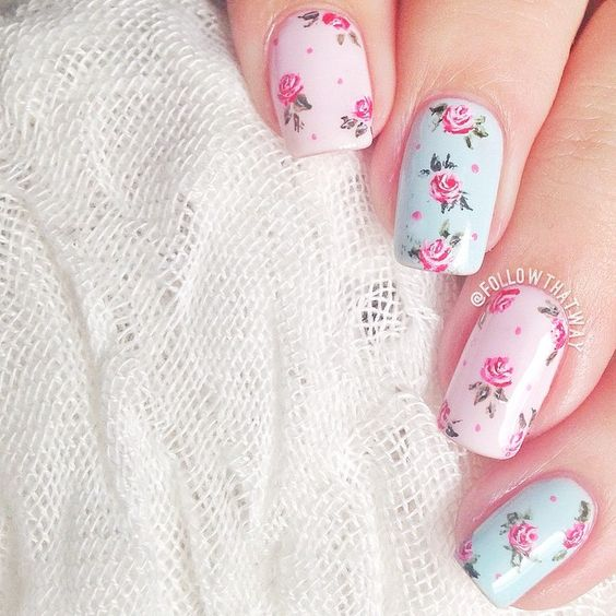 18 vintage floral nail designs you will love crazyforus 18 vintage floral nail designs you will love prinsesfo Image collections