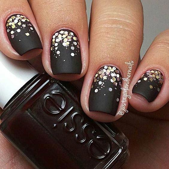 9. Simple Black Matte Glitter Nail Design