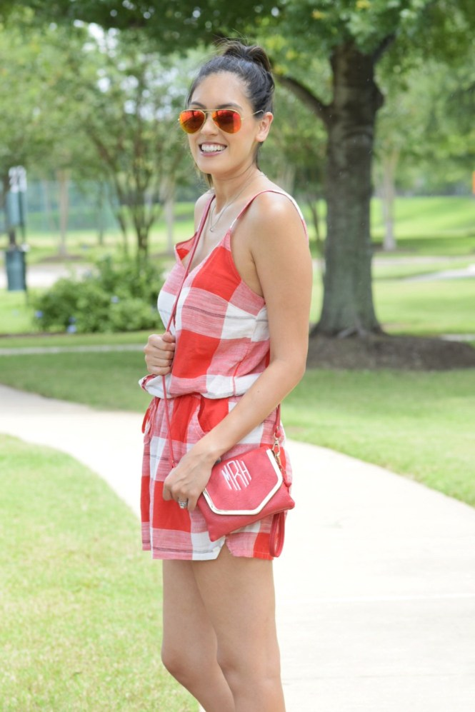 style the girl checkered romper