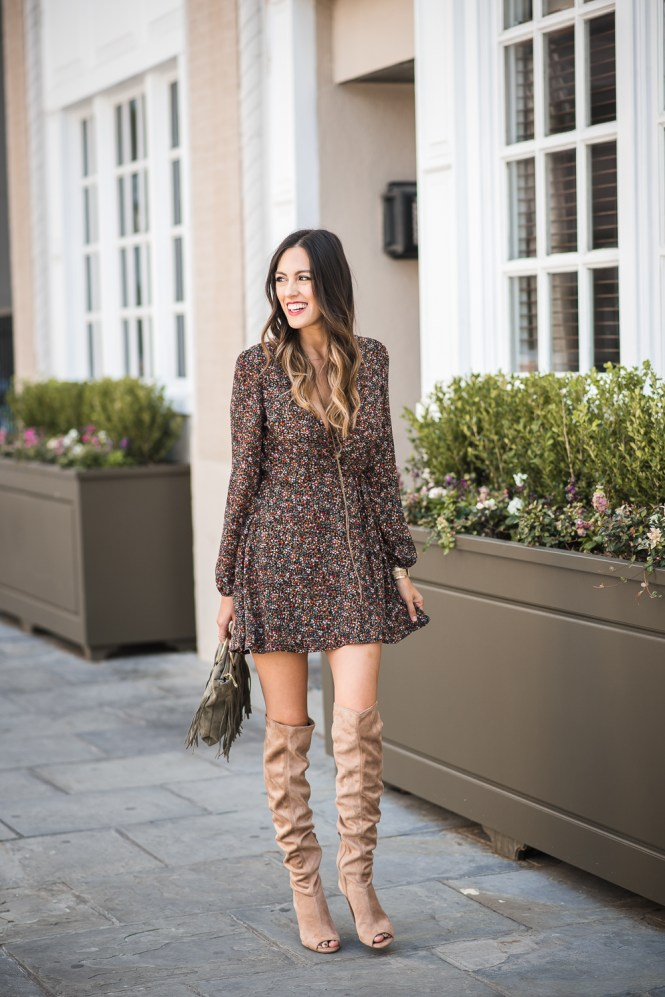style the girl floral print wrap dress and otk boots