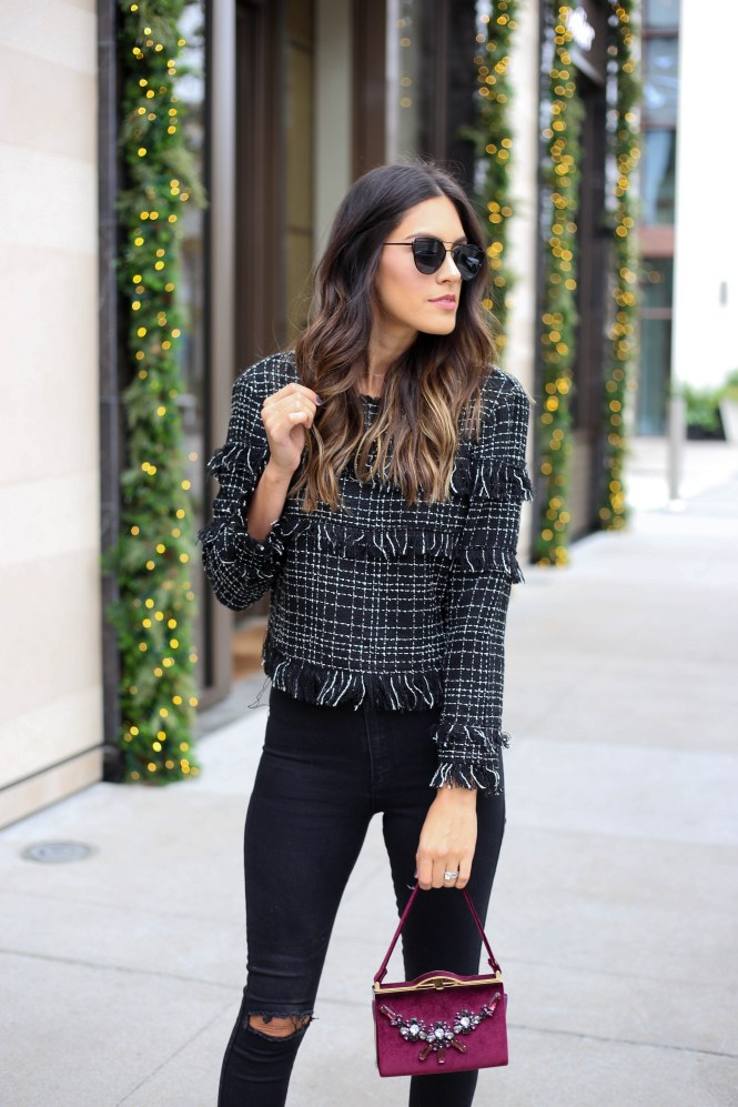 Style The Girl Black Fringe Top
