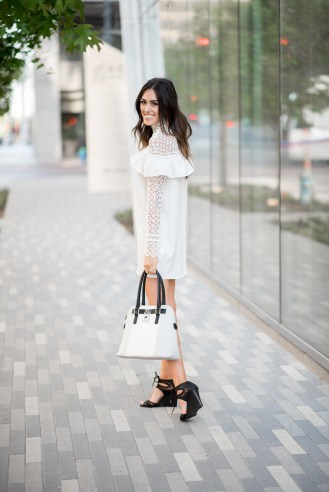 Style The Girl White Lace Collared Dress with Ruffles
