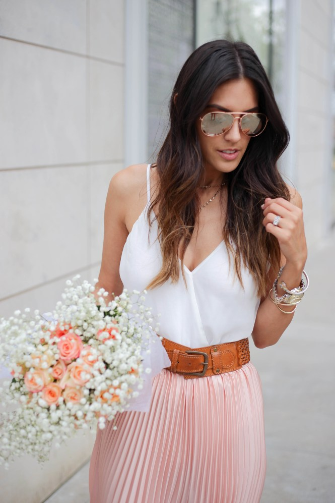 Style The Girl Pink Pleated Skirt