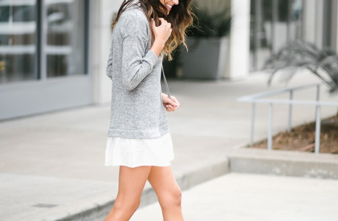 Style The Girl Grey Dress and Adidas Sneakers