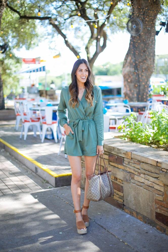 Style The Girl Long Sleeve Green Romper