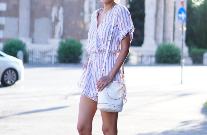 Style The Girl Striped Romper in Rome