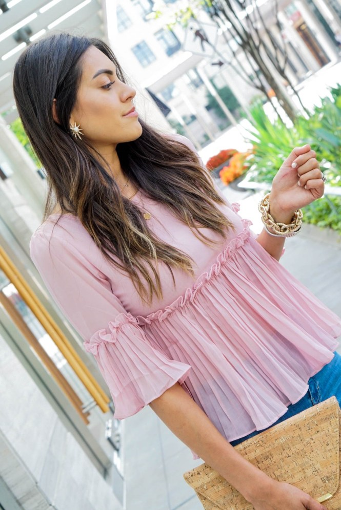 Style The Girl Blush Pink Pleated Topx