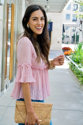 Style The Girl Blush Pink Pleated Top