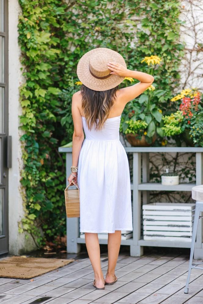 Style The Girl Strapless White Midi Dress