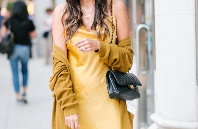 Style The Girl Mustard Yellow Slip Dress and Oversized Cardigan NYFW