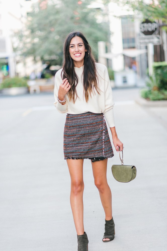 Style The Girl Tweed Skirt and Off White Sweater