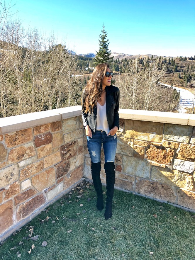 Style The Girl Black Vegan Moto Jacket in Park City