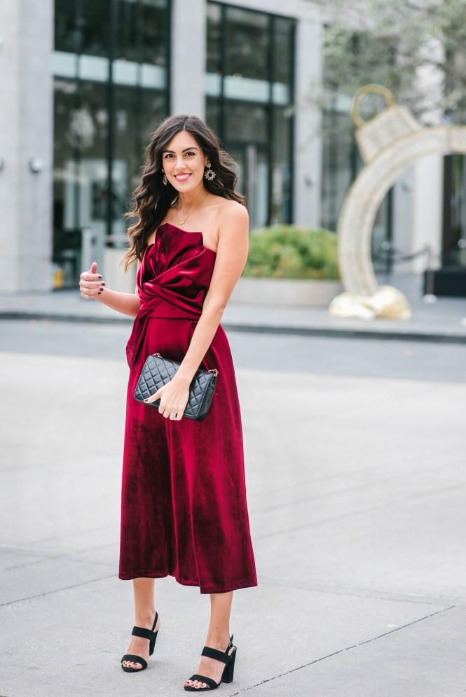 Style The Girl Wine Velvet Jumpsuit