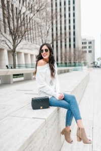 Style The Girl White Off the Shoulder and Jeans Look With Evereve