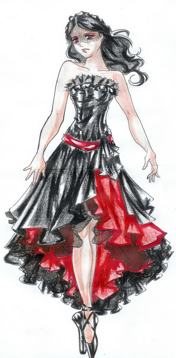20 black and red dress fashion sketch - 30+ Cool Fashion Sketches