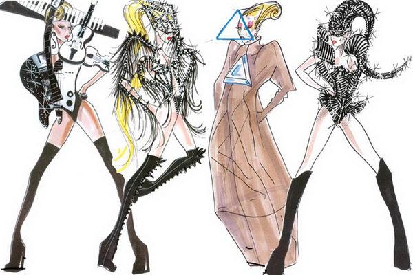 4 lady gaga wearing armani sketches - 30+ Cool Fashion Sketches