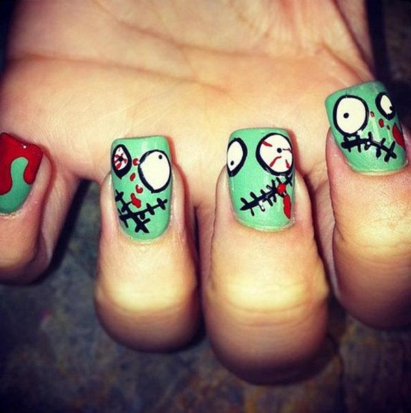 16 zombie - 30 Cool Halloween Nail Art Ideas