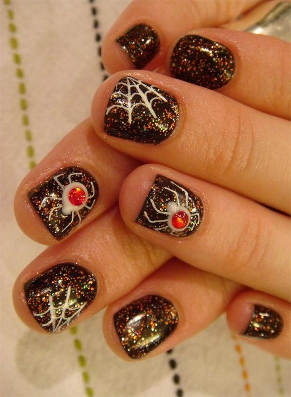 20 spider halloween nail - 30 Cool Halloween Nail Art Ideas