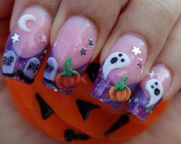 28 halloween ghost nails - 30 Cool Halloween Nail Art Ideas