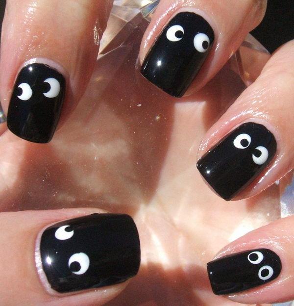 3 googly eye nails - 30 Cool Halloween Nail Art Ideas