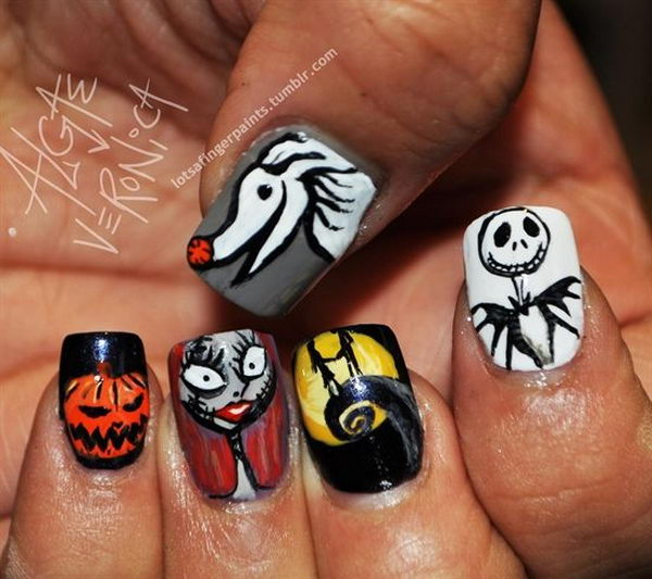 30 the nightmare before christmas - 30 Cool Halloween Nail Art Ideas