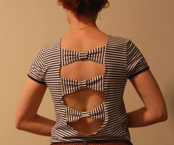20 diy bow t shirt cutting design - 25 DIY T-Shirt Cutting Ideas for Girls