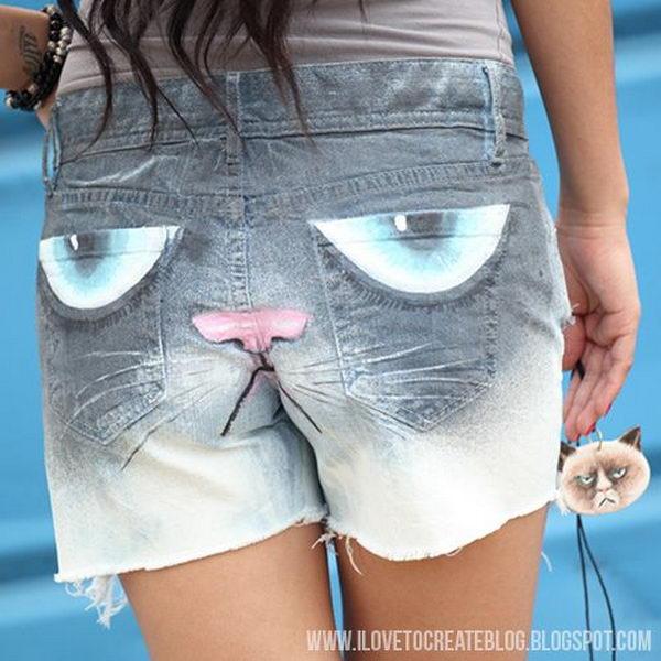 20 grumpy cat jeans shorts - 20 Cool DIY Shorts Ideas for Girls
