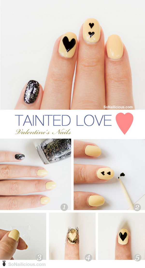 6 valentines heart nail art designs - Step By Step Heart Nail Art Designs for Valentine's Day