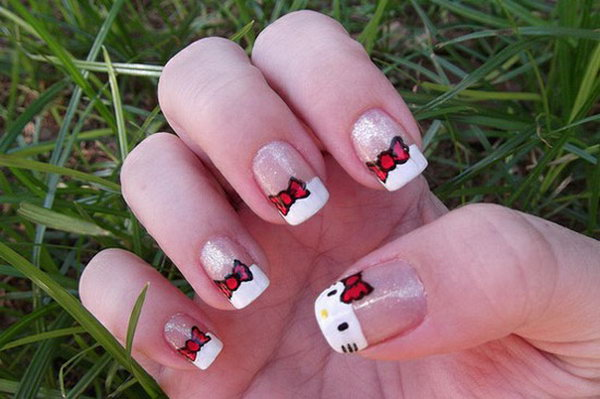 1 cute hello kitty nail art designs - Cute Hello Kitty Nail Art Designs