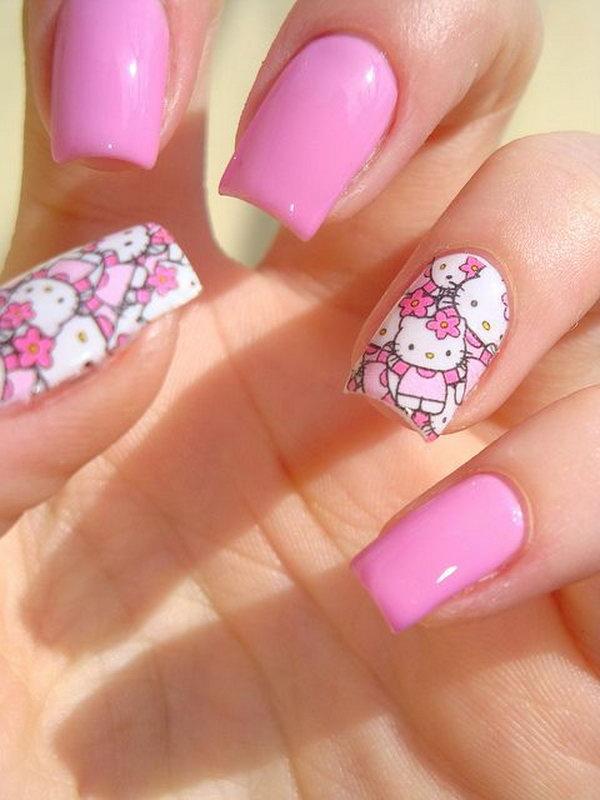 11 cute hello kitty nail art designs - Cute Hello Kitty Nail Art Designs