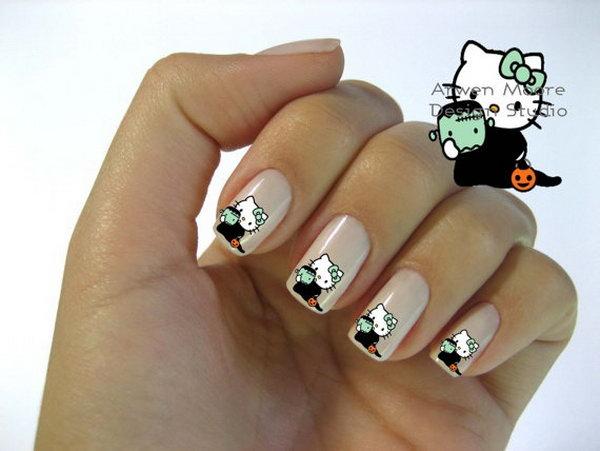 15 cute hello kitty nail art designs - Cute Hello Kitty Nail Art Designs