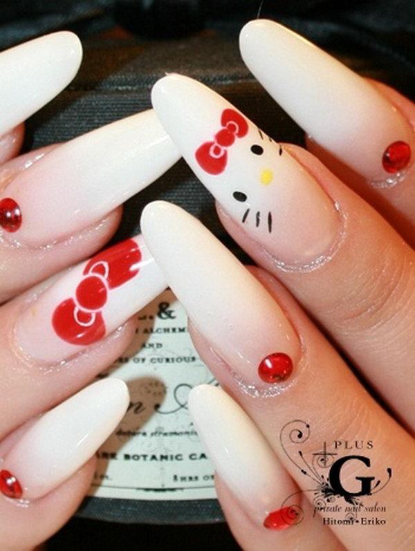 19 cute hello kitty nail art designs - Cute Hello Kitty Nail Art Designs