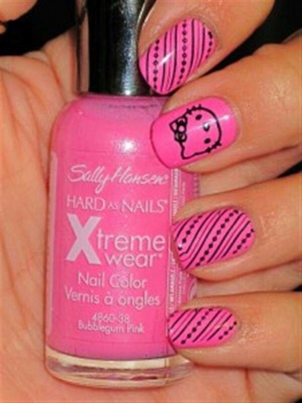 20 cute hello kitty nail art designs - Cute Hello Kitty Nail Art Designs