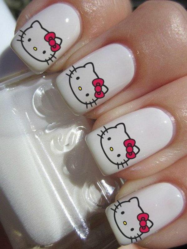 3 cute hello kitty nail art designs - Cute Hello Kitty Nail Art Designs
