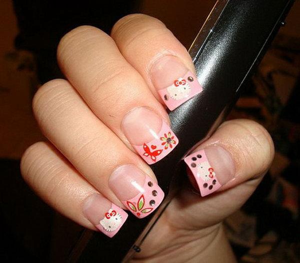 4 cute hello kitty nail art designs - Cute Hello Kitty Nail Art Designs