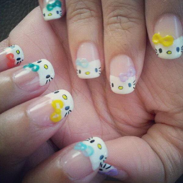 5 cute hello kitty nail art designs - Cute Hello Kitty Nail Art Designs