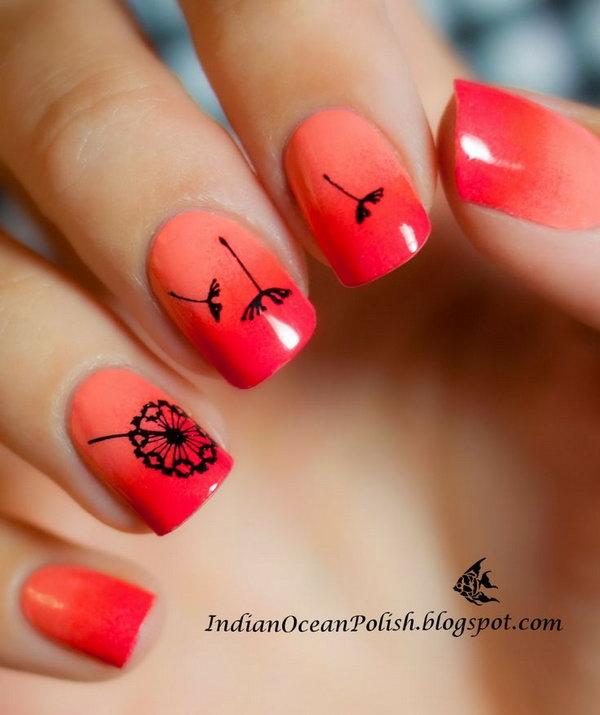 4 dandelion nail art - Cute Dandelion Nail Art Designs